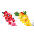 Set fruit juice splash in glasses