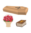 Set funeral Coffin and Bible Basket of flowers for vector image vector image