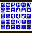 set medical flat icon symbols in blue on a vector image