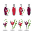 Set of wine bottles and wineglasses