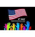Silhouettes of People Holding the Flag of USA vector image vector image