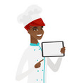 smiling chef cook holding tablet computer vector image vector image