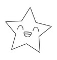 star smiling kawaii cartoon in black and white vector image vector image