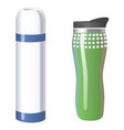 thermos flask icons tumbler thermo cup isolated vector image vector image
