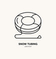 thin line icon of snow tubing winter vector image