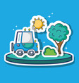truck transportation with sun and tree patches vector image vector image