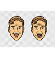 two men face the emotions of fear and joy vector image