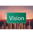 Vision signs on city background vector image vector image
