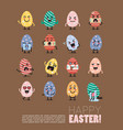 happy easter with egg character set vector image
