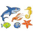 aquatic animals set vector image