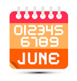 June Paper Calendar Isolated on White Background vector image