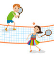 children playing tennis vector image