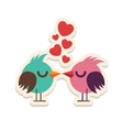 Greeting card love birds kissing happy Valentine vector image