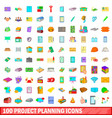 100 project planning icons set cartoon style vector image vector image
