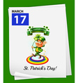 A calendar showing the 17th of March vector image vector image