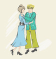 a young couple of people says goodbye or greet vector image