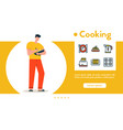 banner man cooking at home vector image vector image