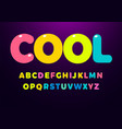 bright cool colored letters set bold rounded vector image vector image
