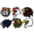 bulldog rooster lion jaguar bear eagle logo vector image