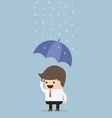 businessman holding an umbrella under the rain vector image vector image