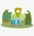 camping trailer trees mountains sun vacations vector image vector image