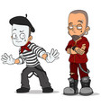 cartoon french mime and punk characters set vector image vector image