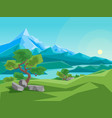 cartoon summer mountain and river on a landscape vector image vector image