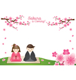 Cherry Blossoms and Japanese Couple Background vector image vector image