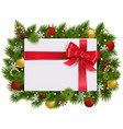 christmas fir branches with gift vector image vector image