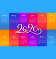 compact calendar layout for 2020 year vector image vector image