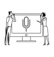 couple holding computer black and white vector image vector image