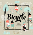 cute kids on bicycle design childish background vector image vector image