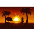 Evening sunset on sea Sea palm trees silhouette vector image
