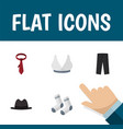 flat icon garment set of panama foot textile vector image vector image