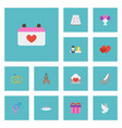 flat icons building engagement accessories and vector image vector image