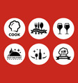 food icons for restaurant on red background vector image