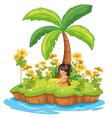 Girl on an island vector image vector image