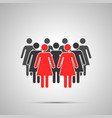 group woman silhouette with two red leaders vector image vector image