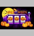halloween slot machine pumpkin jackpot lucky vector image vector image