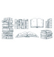 hand drawing books drawn sketch literature vector image vector image