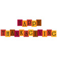 happy thanksgiving typography on overlapping color vector image vector image