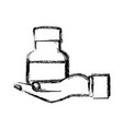 human hand holding bottle medicine pet care sketch vector image vector image