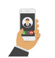 incoming call on mobile phone vector image vector image
