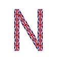 Letter N made from United Kingdom flags vector image vector image