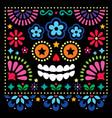 mexican folk art folk art skull design vector image vector image
