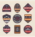 mountain adventures vintage isolated label set vector image