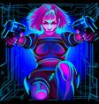 neon horoscope cyberpunk zodiac sign sagittarius vector image vector image