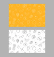 one line art style fruits seamless pattern set vector image