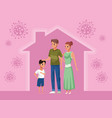 parents couple and son stay at home family vector image vector image