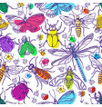 pattern insect set 3 vector image